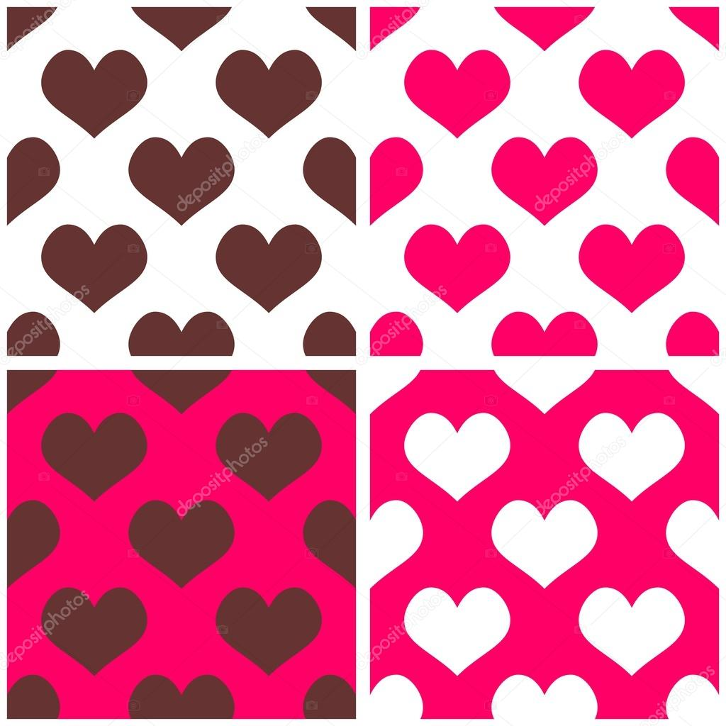 Seamless Pink Vector Background Set With Hearts Full Of Love Tile Pattern For Valentines Wallpaper