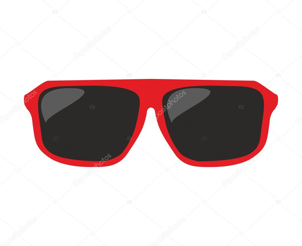 Red sunglasses vector illustration isolated on white background