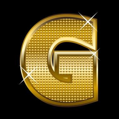 Golden font type letter G