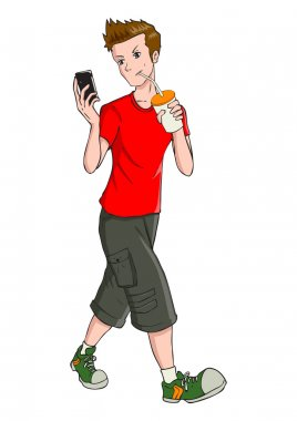 Teen Boy With Mobile Phone