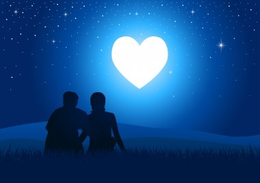 Silhouette illustration of a couple sitting on grass watching the glowing heart clip art vector