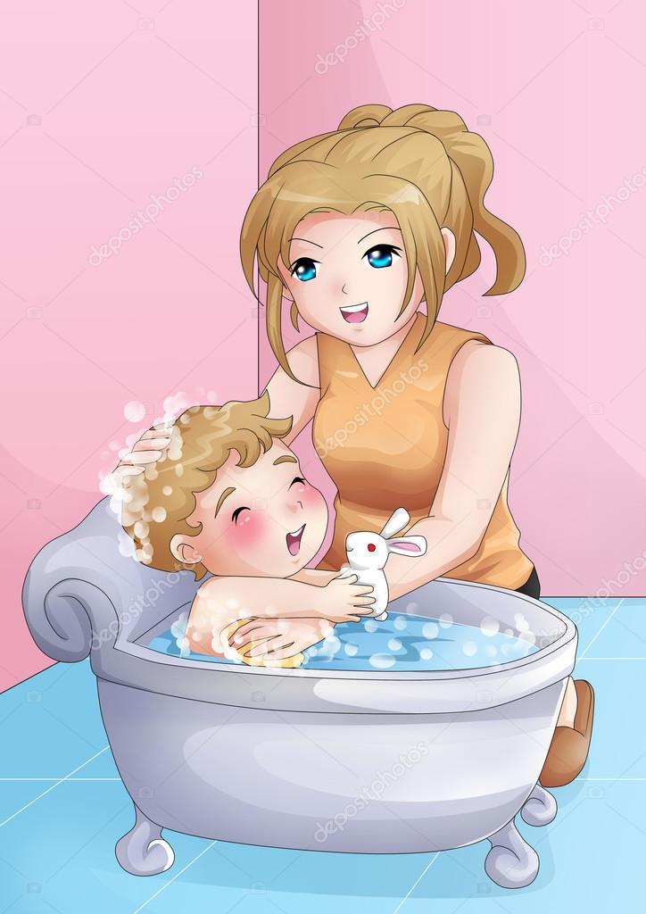 картинки мама купает малыша
