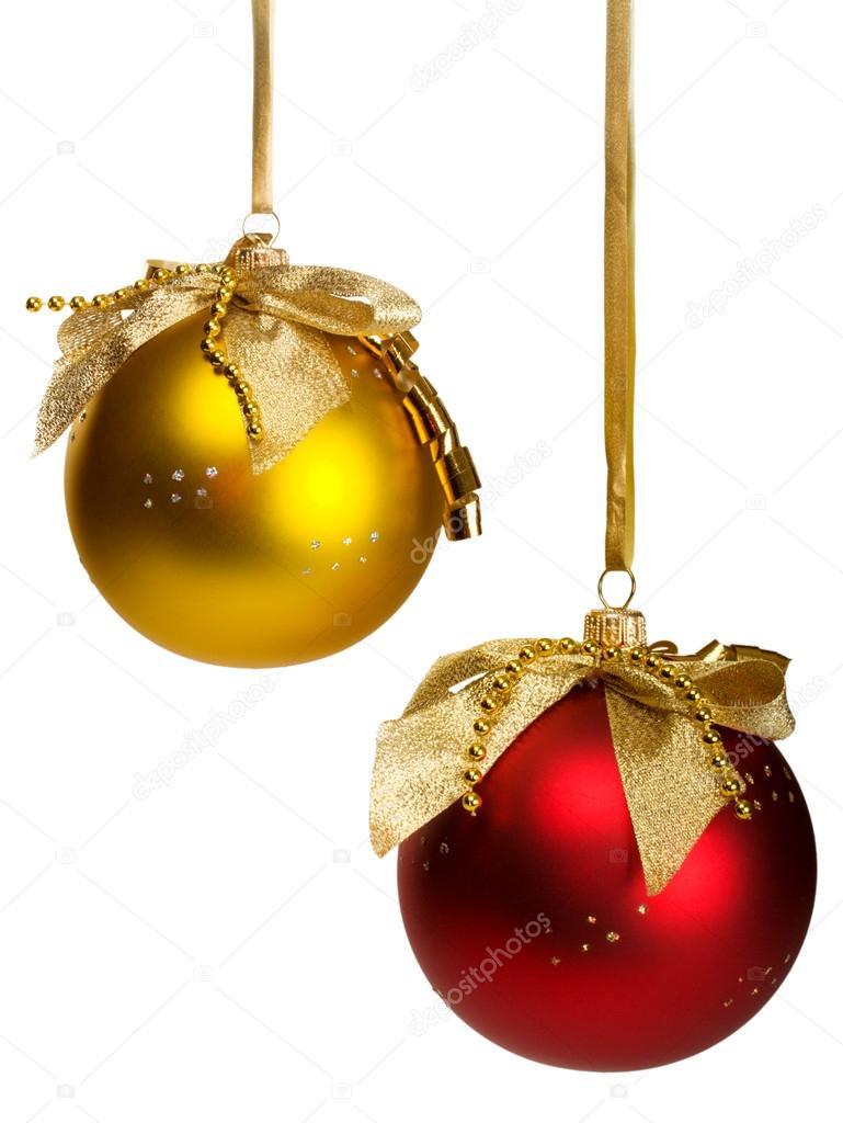 Bolas de navidad rojo y dorado fotos de stock - Bolas de navidad doradas ...