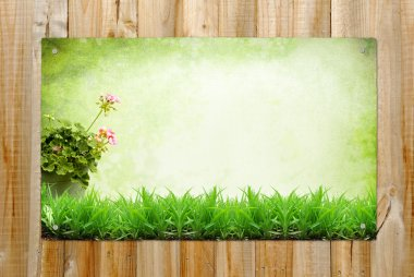 Wooden background with summer landscape painting