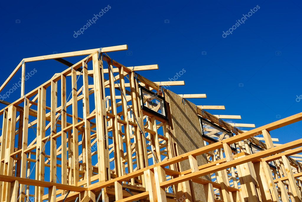 Abstract of New Home Construction Site Framing