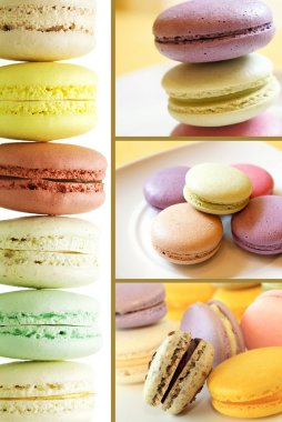 Pastel colored macarons collection set