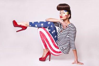 fashion model in american flag leggings