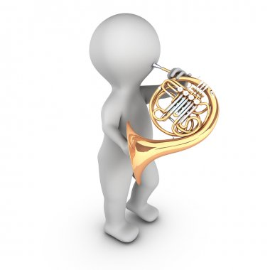A 3D character playing french horn (corniste