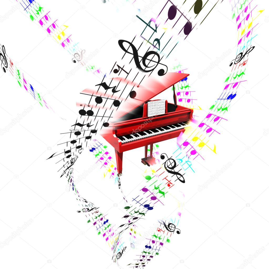 Grand Piano With Colored Flying Notes On Partition Sheets Stock Photo