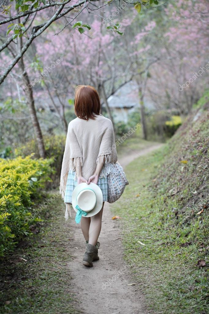 Asian girl in nature background