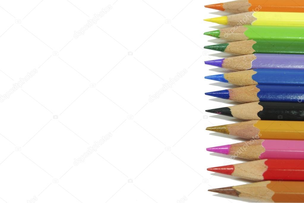 lápices de crayón colorante aislados sobre fondo blanco — Foto de ...