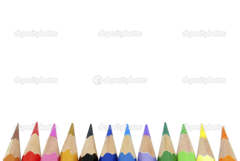 lápices de crayón colorante aislados sobre fondo blanco — Fotos de ...