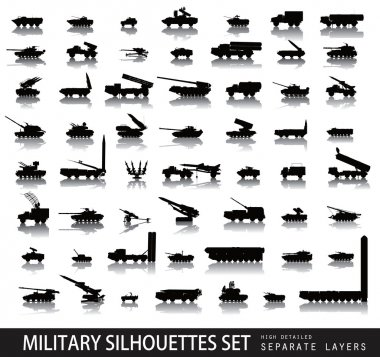 High detailed soviet military silhouettes set. Vector on separate layers stock vector