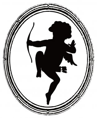 Shooting Cupid silhouette and vintage frame clip art vector