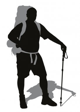 Man with backpack and trekking pole posing. Vector silhouette stock vector