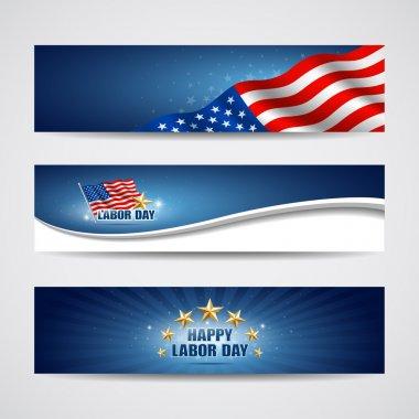 Labor day USA banner design set, vector illustration stock vector