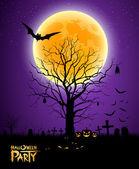 Fotografia sfondo luna piena albero di Halloween