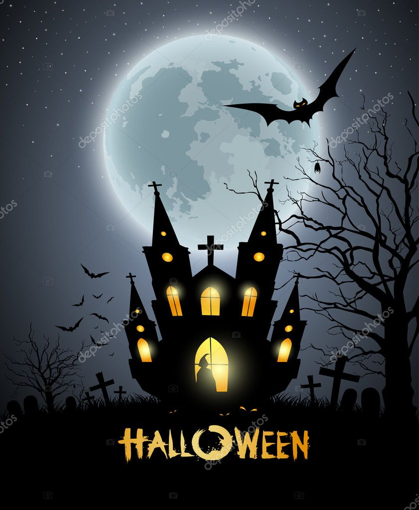 happy halloween party house scary background u2014 stock vector