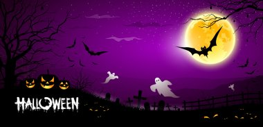 Halloween ghost scary purple background