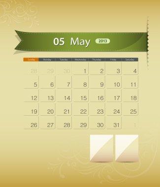 May 2013 calendar ribbon design