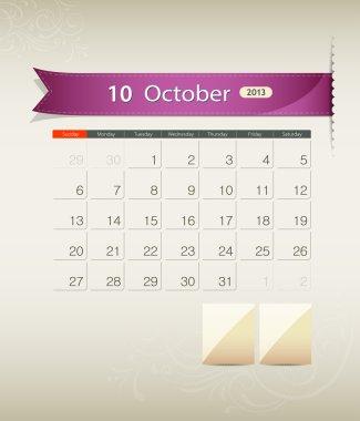 October 2013 calendar ribbon design
