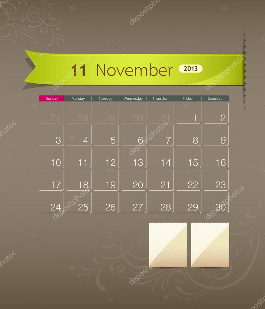 Calendar Ribbon Design : November calendar ribbon design — stock vector