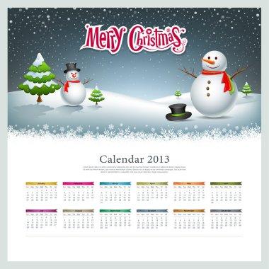 Calendar 2013, Merry christmas and snowman background