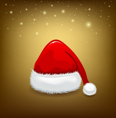 Hat red Santa Claus on golden background