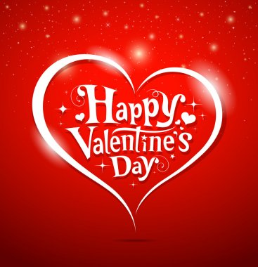Happy Valentine's Day lettering Greeting Card on red background, vector illustration clip art vector