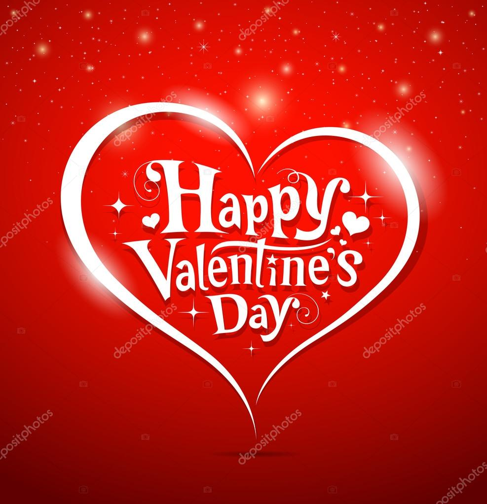 Happy Valentine's Day lettering Greeting Card on red background, vector illustration clipart vector