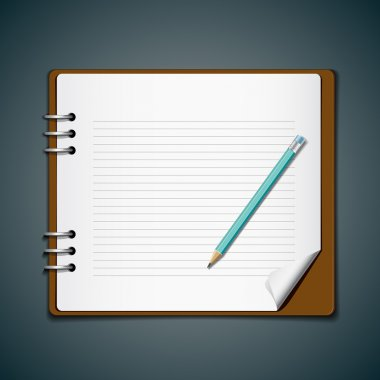 Diary note book and blue pencil for business