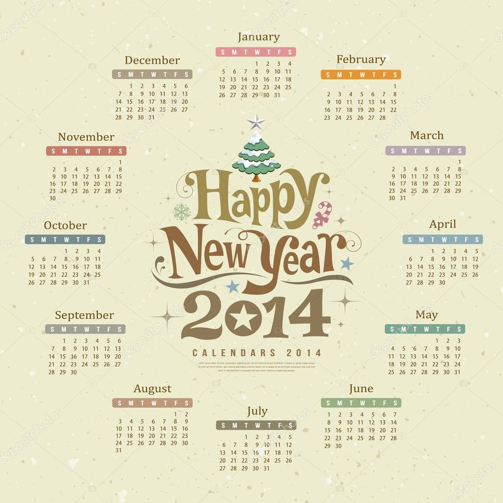 Takvim Mutlu Yeni Yıl 2014 Metin Tasarım Stok Vektör
