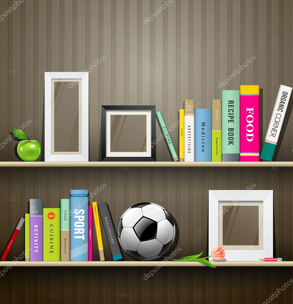 Interior wooden shelves free vector - Row Of Colorful Books On Shelf Vector Illustration Stock Vector 31080619