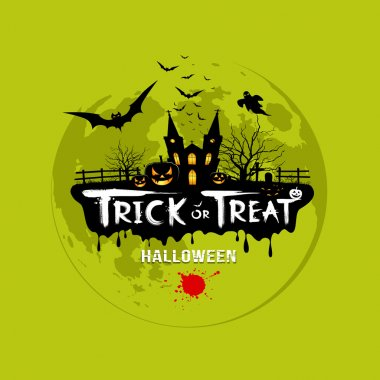 Trick or treat halloween design on green background