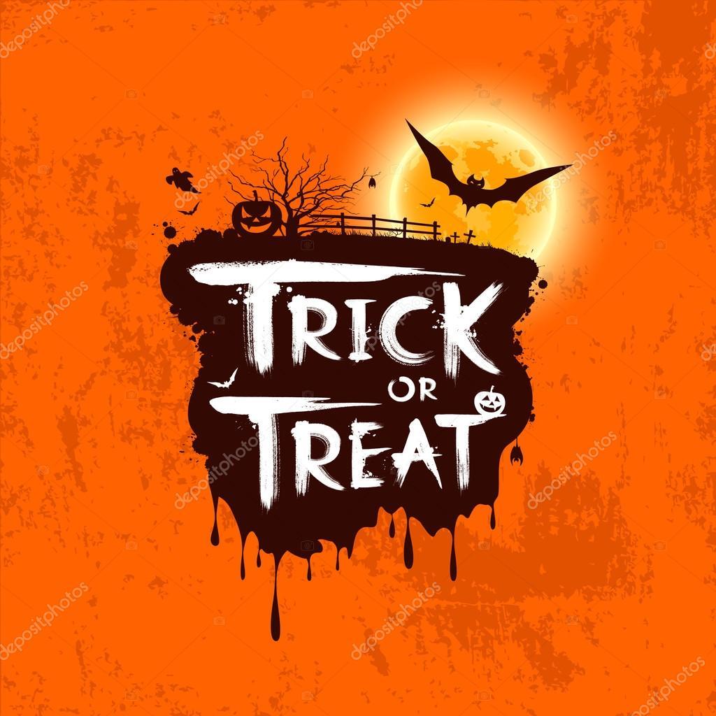Halloween trick or treat message on orange background, vector illustration
