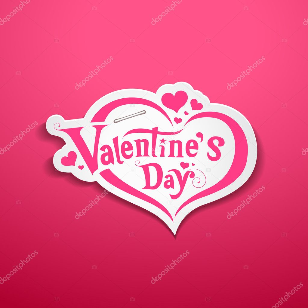 Happy Valentine S Day Lettering Design On Pink Background Stock