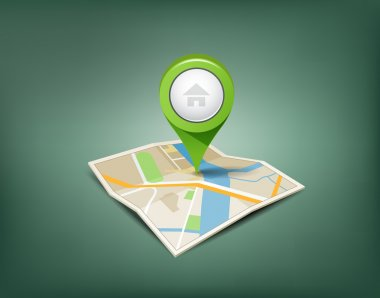 Folded maps with green color point markers design background