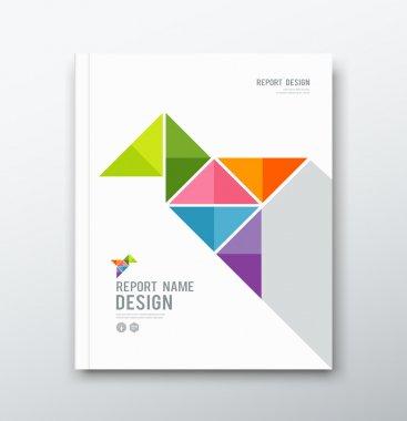 Cover Annual report, colorful bird origami paper design