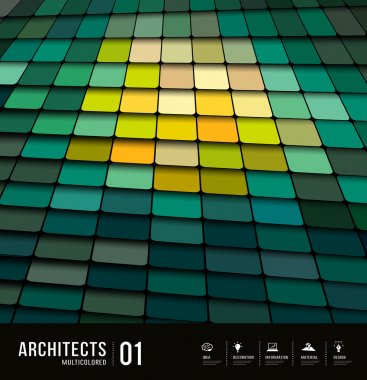 Architects abstract multicolored tiles materials design