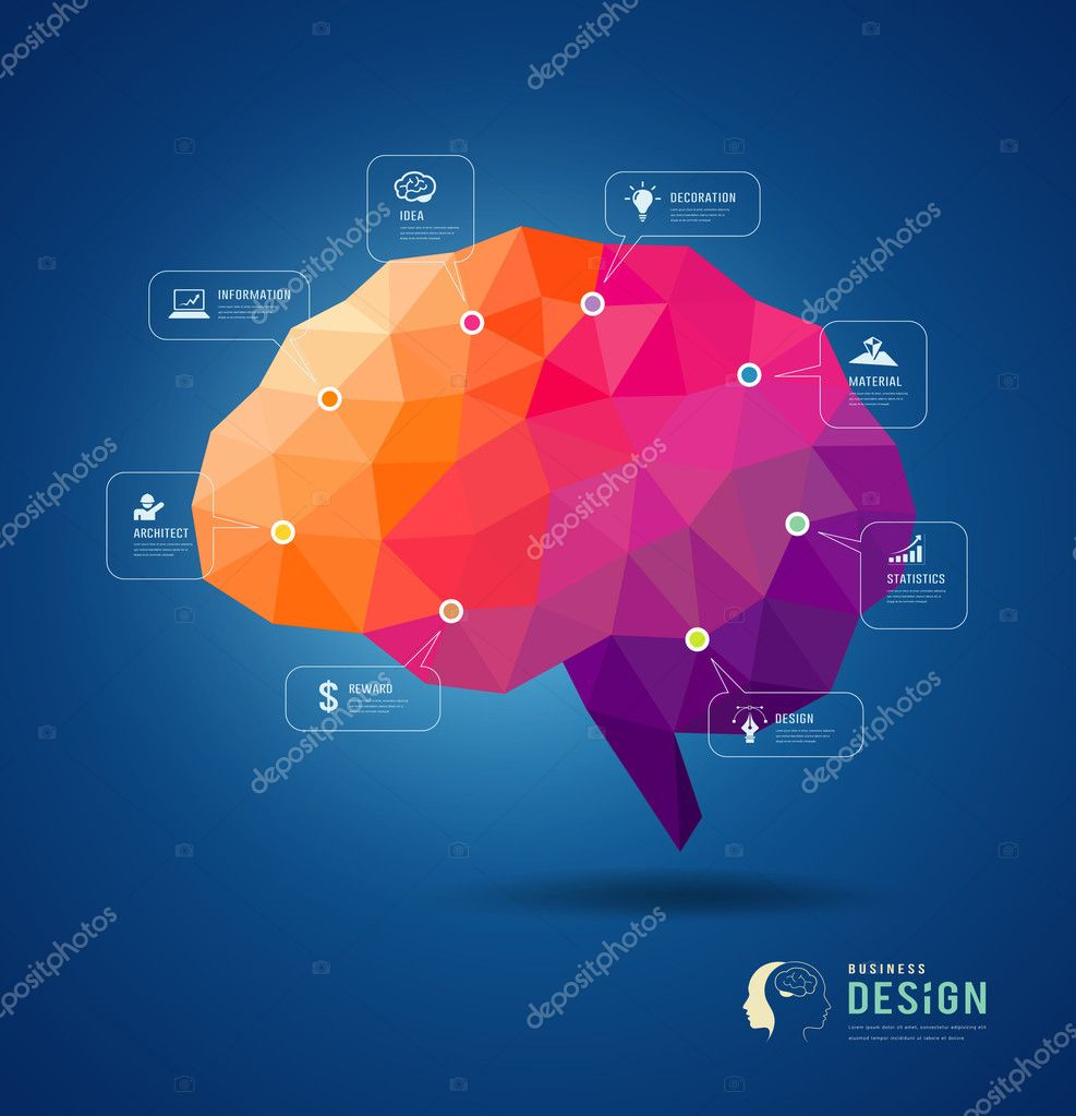 Brain idea geometric info graphics design