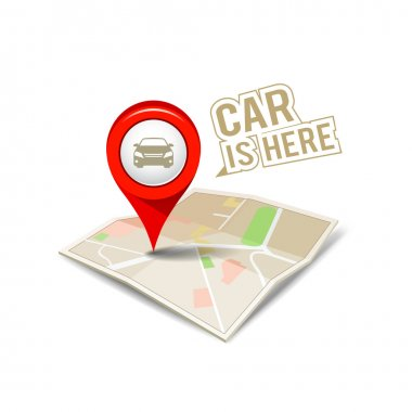 Map red pointer with my car isolated design
