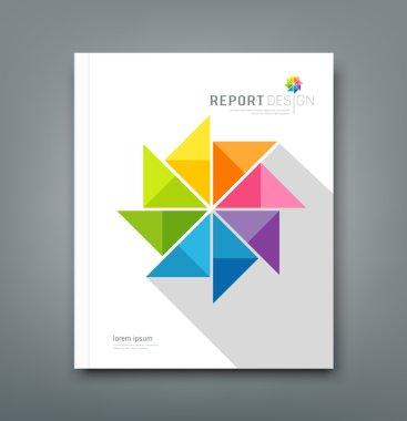 Cover Annual report, colorful windmill origami paper design