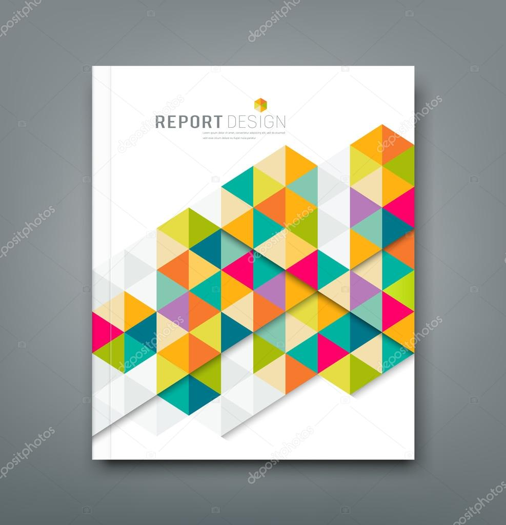 Cover report abstract colorful geometric template design — Stock ...