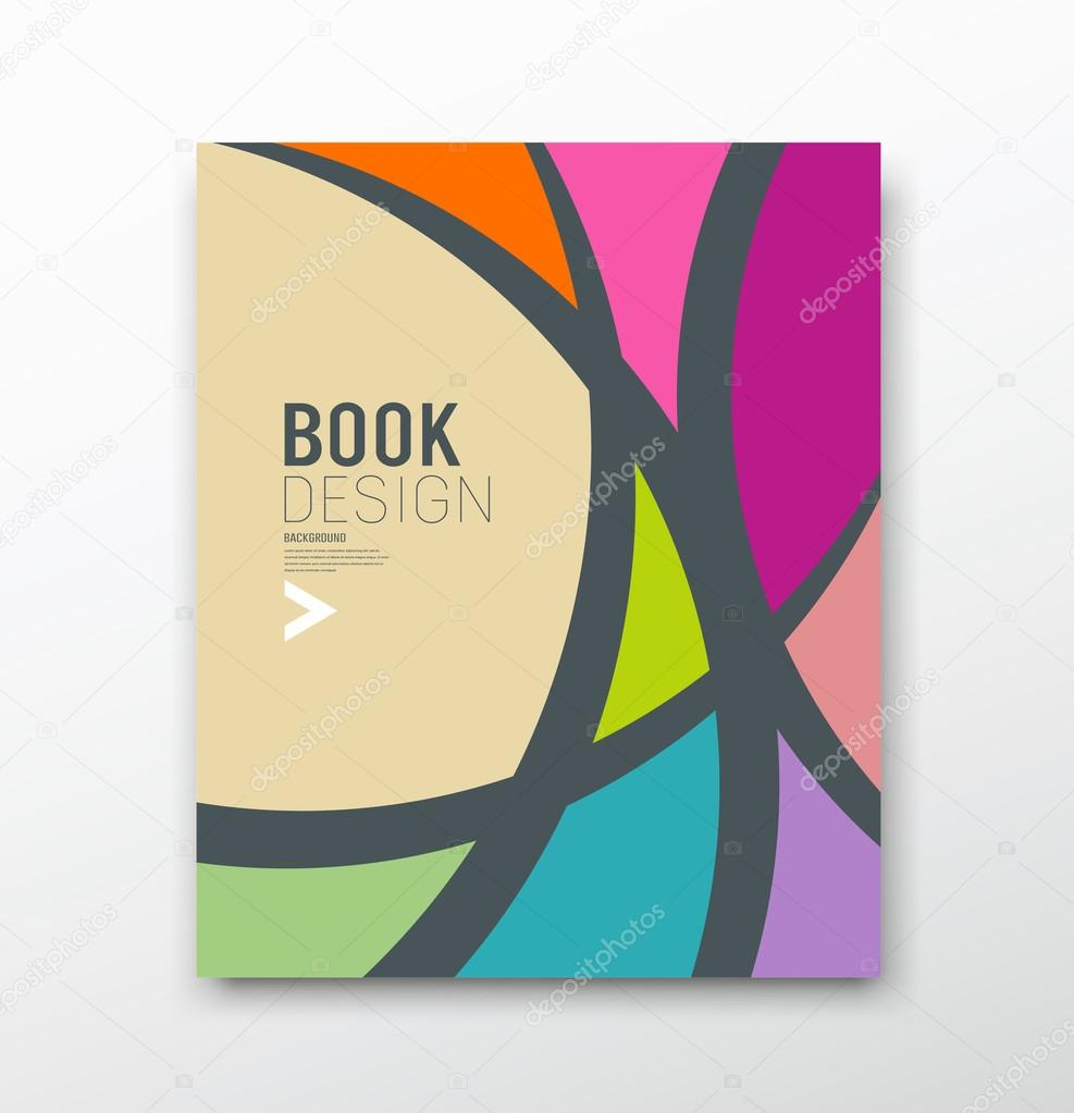 Book Cover Illustration Rates : Cover magazine abstract colorful curve design — stock