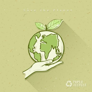 Globe in hand save the earth concept design