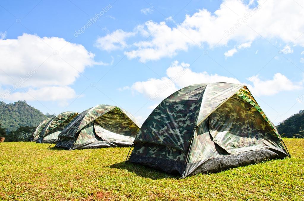 Tent on a grass