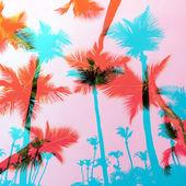 Exotische Palm Bäume montage