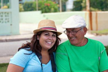 Hispanic Woman with Her Grandfather