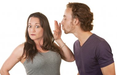 Lady Blocking a Man's Kiss
