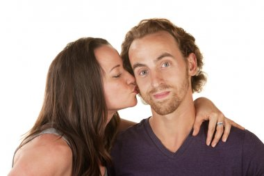 Woman Kissing Calm Man